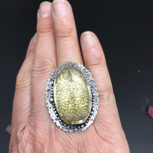 Lemon Quartz Statement Ring by Susan Wachler Jewelry