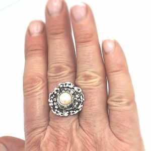 Oxidized Sterling Organic Pearl Ring by Susan Wachler Jewelry