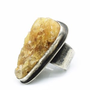 Rustic Mustard Druzy Citrine Ring by Susan Wachler Jewelry