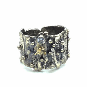 Sculptural Fused CZ Ring by Susan Wachler Jewelry