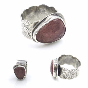 Strawberry Quartz and Sterling Silver Ring by Susan Wachler Jewelry