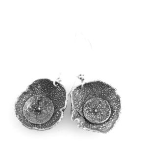 Textured Silver Circle Dangle Earrings by Susan Wachler Jewelry