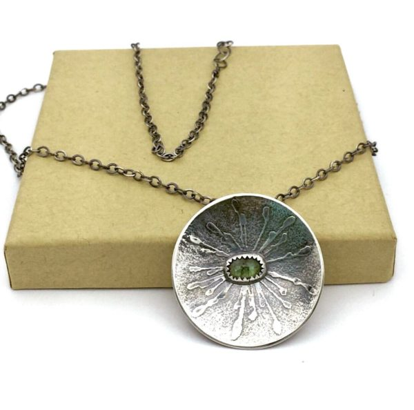 Tourmaline Botanical Embossed Flower Necklace by Susan Wachler Jewelry