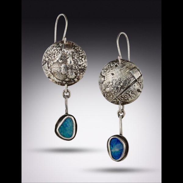Australian Blue Boulder Opal Earrings by Susan Wachler Jewelry