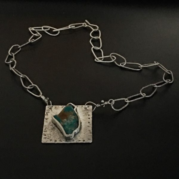 Hand Cut Turquoise Sterling Necklace by Susan Wachler Jewelry