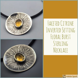 Flower Burst Botanical Citrine Necklace by Susan Wachler Jewelry