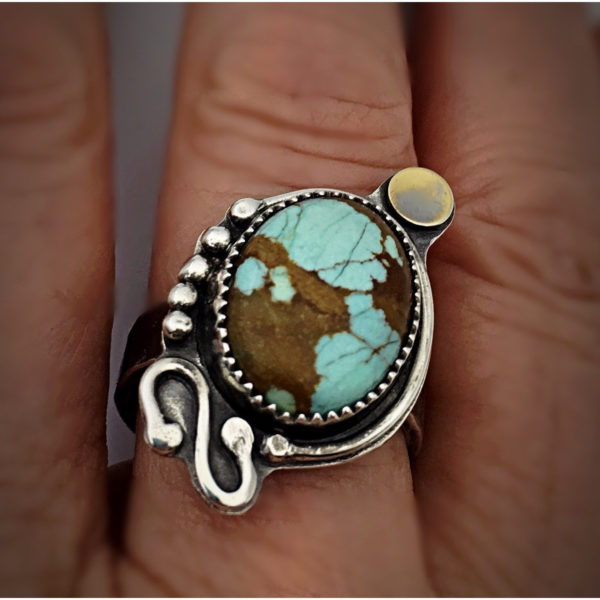Turquoise and Gold Ring by Susan Wachler Jewelry