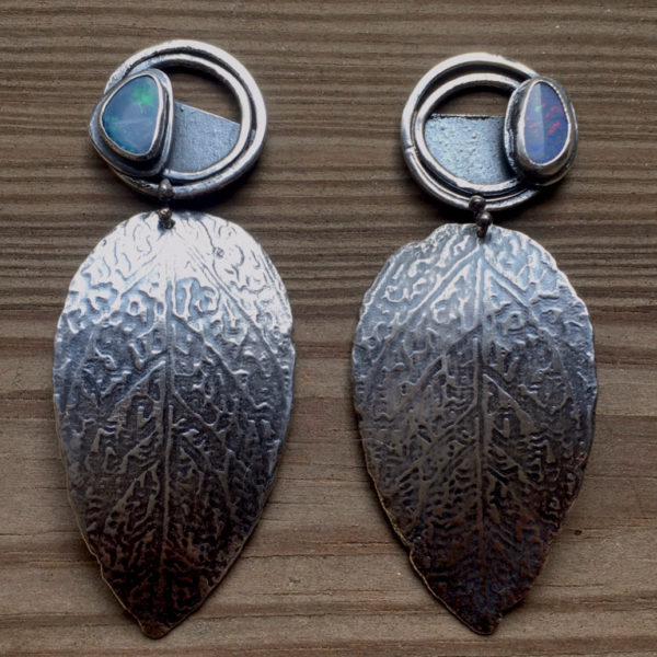 Opal Leaves Sterling Silver Modern Opal Earrings by Susan Wachler Jewelry