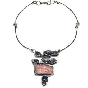 Rhodochrosite Sterling Silver Necklace Sculpture by Susan Wachler Jewelry