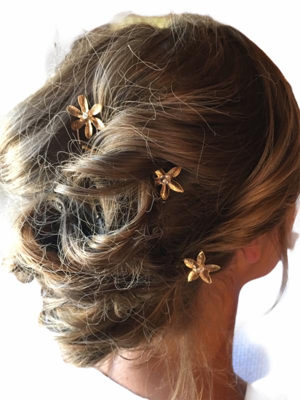 Wildflower Bronze Hairpins by Susan Wachler Jewelry