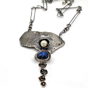 Watercast Sterling Silver Sapphire and Pearl Necklace by Susan Wachler Jewelry
