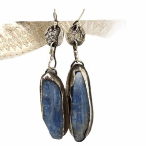 Rustic Kyanite Silver Earrings by Susan Wachler Jewelry