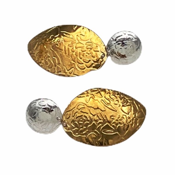 Embossed Petals Textured Mixed Metal Earrings by Susan Wachler Jewelry
