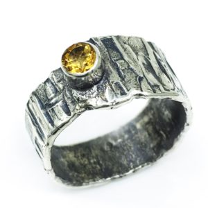 Fused Citrine Modern Silver Ring by Susan Wachler Jewelry
