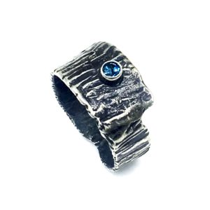 Fused Topaz Modern Silver Ring by Susan Wachler Jewelry