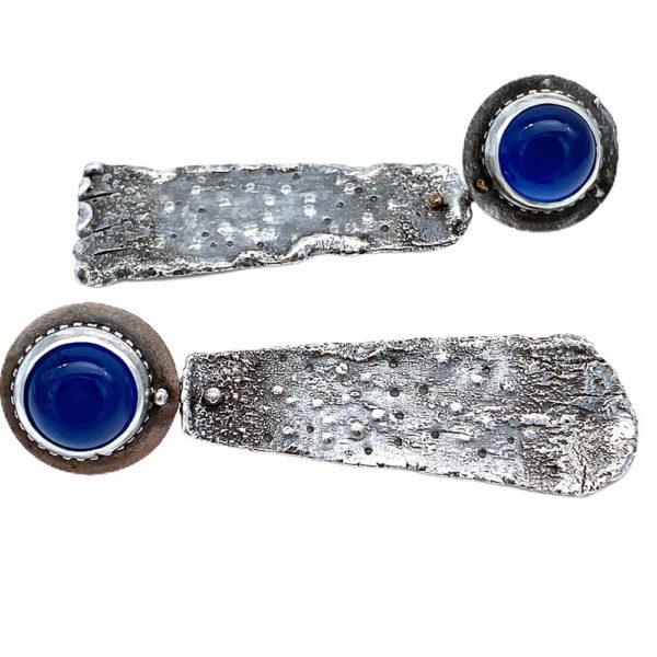 Blue Chalcedony Silver Post Earrings by Susan Wachler Jewelry