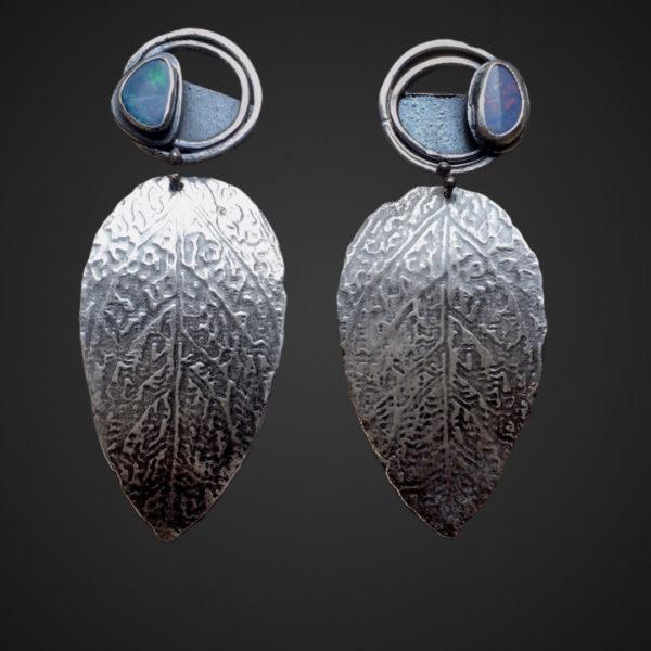 Opal Leaves Sterling Silver Modern Opal Earrings by Susan Wachler Jewelry