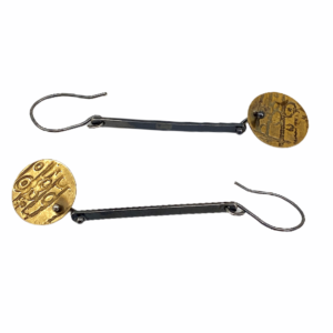 Brass Etchings Silver Earrings by Susan Wachler Jewelry