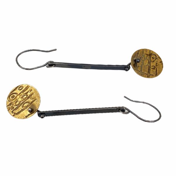 Brass Etchings Silver Earrings by Susan Wachler Jewelry
