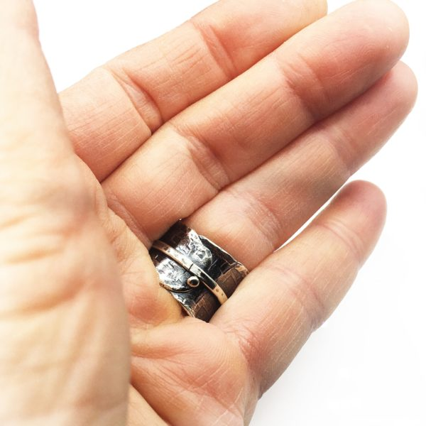 Textured Directions Sterling Silver Wide Band Ring by Susan Wachler Jewelry