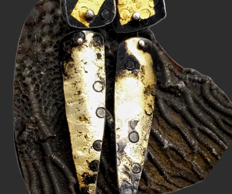 Riveted Shields Gold Keum Boo Steel Earrings by Susan Wachler Jewelry