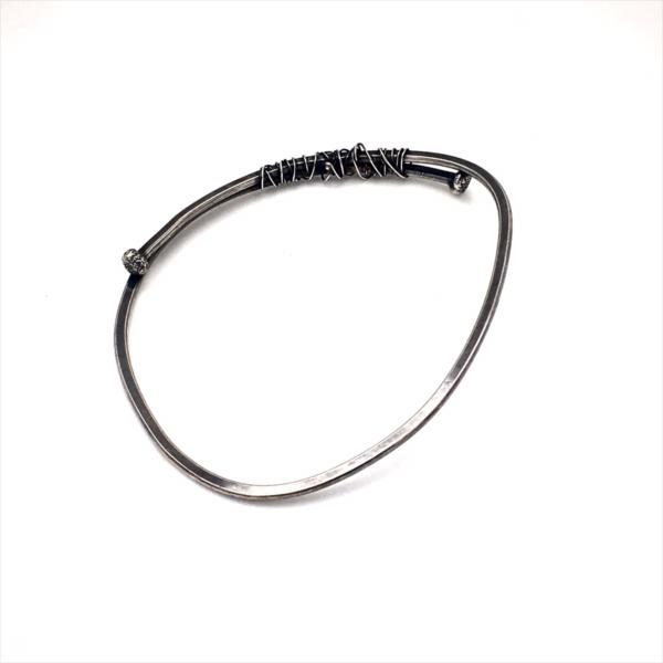 Round Wrapped Nailhead Wraps Sterling Silver Wrap Bracelet by Susan Wachler Jewelry