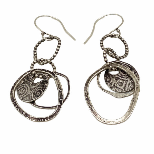 Sterling Silver Textured Contemporary Dangle Earrings by Susan Wachler Jewelry