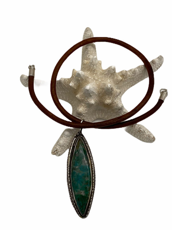 On the Elliptical Chrysocolla Silver Necklace by Susan Wachler Jewelry