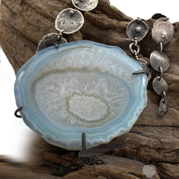 Mysterious Depths Sterling Silver Blue Agate Necklace by Susan Wachler Jewelry