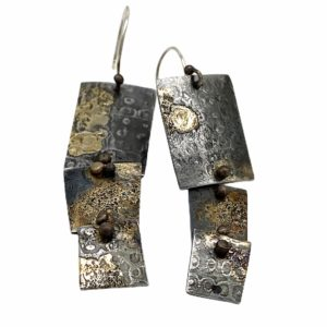 Noble Elegance Gold and Steel Earrings by Susan Wachler Jewelry