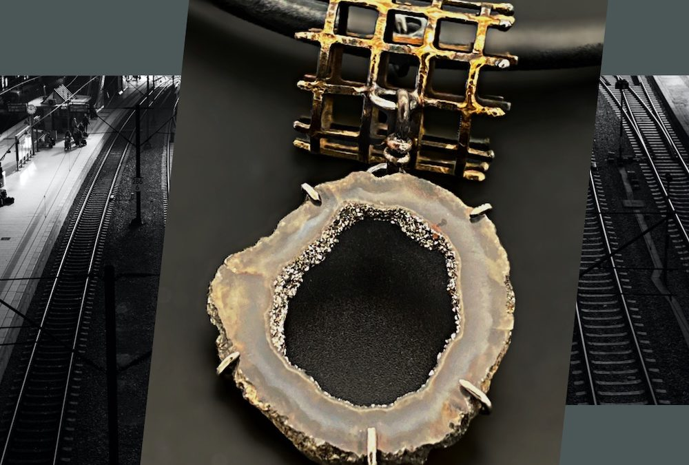Caged Elegance Steel Gold and Druzy Cage Necklace by Susan Wachler Jewelry