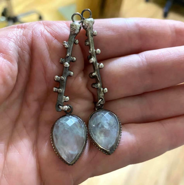 Tidal Connections Sterling Silver Prehnite Earrings by Susan Wachler Jewelry