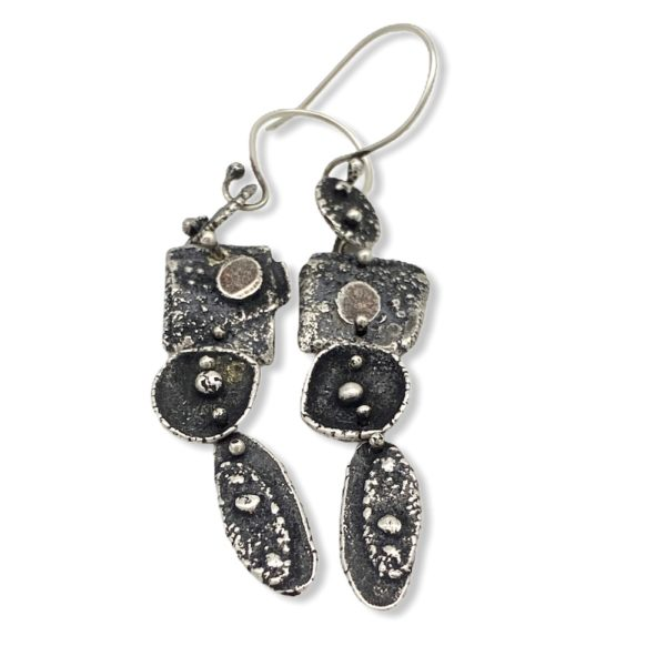 Intermittent Connections Riveted Silver Earrings by Susan Wachler Jewelry