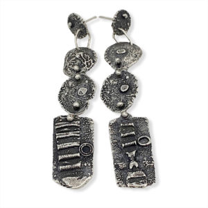 Found Connections Silver Disc Earrings by Susan Wachler Jewelry
