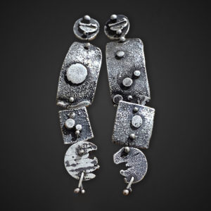 Lunar Connections Long Post Earrings by Susan Wachler Jewelry