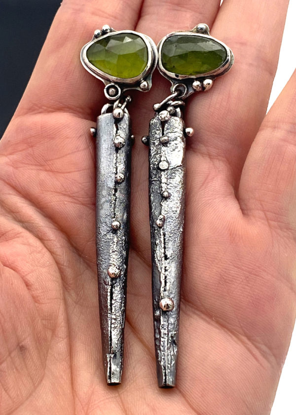 Heart Connections Vesuvianite Green Earrings in Sterling Silver by Susan Wachler Jewelry