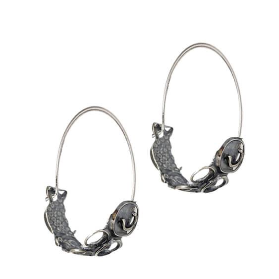 Global Connections Silver Hoop Earrings by Susan Wachler Jewelry