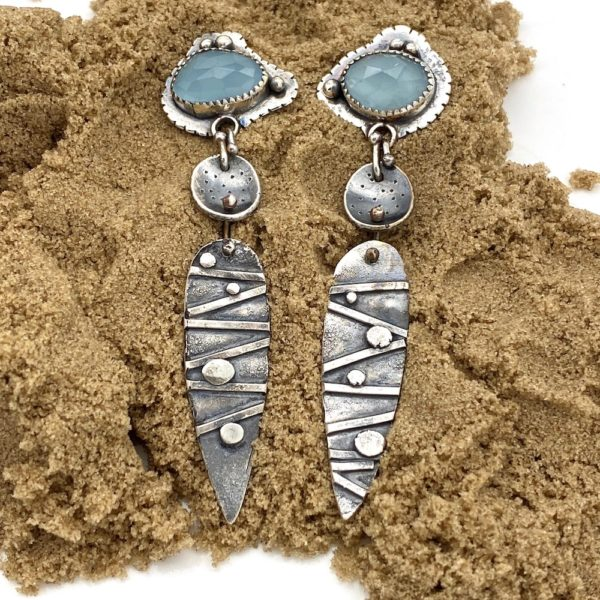 Soft Connections Sterling Silver Aquamarine Earrings by Susan Wachler Jewelry