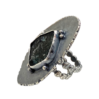 Tourmaline Blues Art Jewelry Ring by Susan Wachler Jewelry