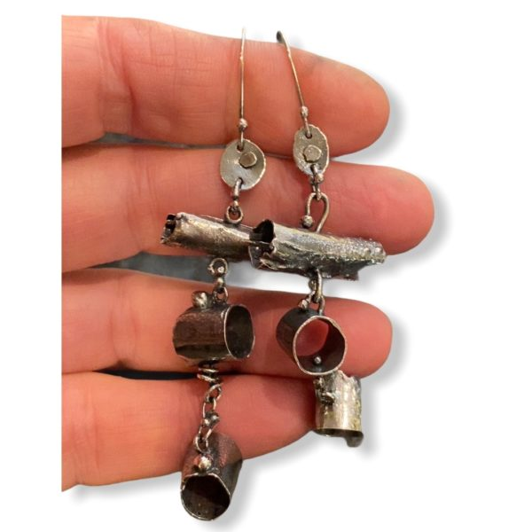 Tubular Connections Silver Tube Earrings by Susan Wachler Jewelry