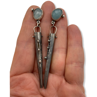 Aqua Connections Silver Aquamarine Earrings by Susan Wachler Jewelry
