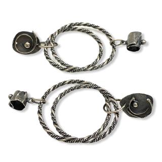 Orbital Connections Silver Asymmetrical Hoop Earrings by Susan Wachler Jewelry