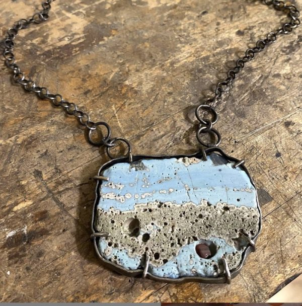 Shoreline Connections Leland Blue Rustic Sterling Silver Necklace by Susan Wachler Jewelry