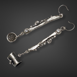 Dangling Connections Sterling Silver White Topaz Earrings by Susan Wachler Jewelry