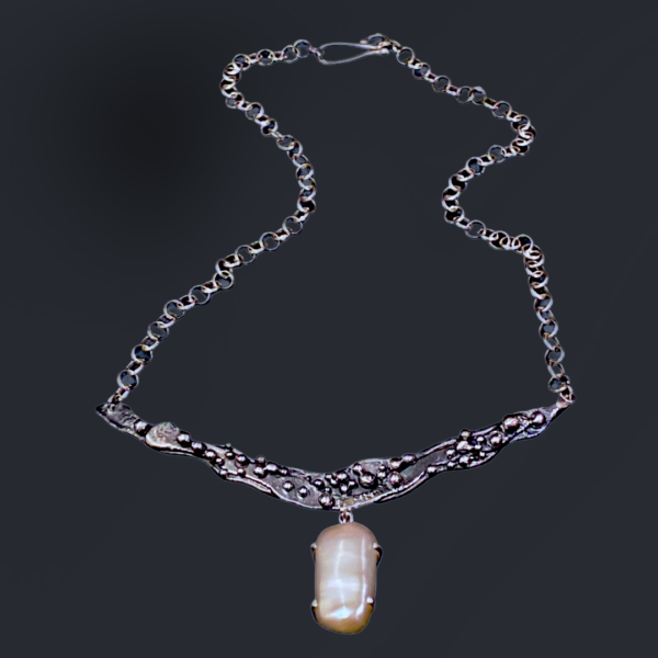 Pearl Depths Forged Silver and Pearl Necklace by Susan Wachler Jewelry