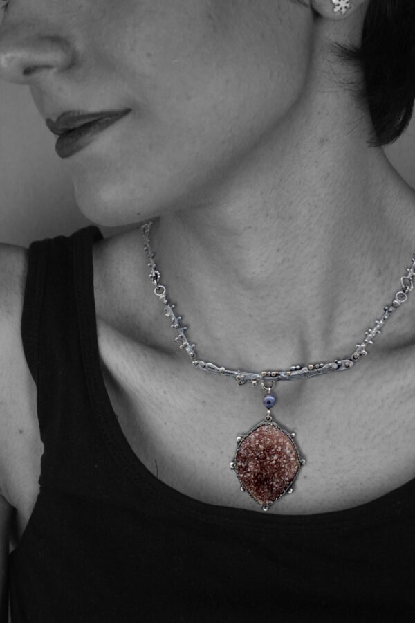 Sterling Silver Amethyst Druzy necklace by Susan Wachler Jewelry