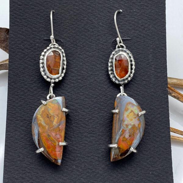 Kyanite and Boulder Opal Earrings by Susan Wachler Jewelry