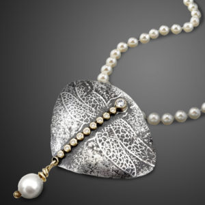 Flight of Pearls White Pearl Dragonfly Necklace by Susan Wachler Jewelry