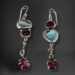 Brilliant Colors Blue Hemimorphite and Rhodolite Garnet Earrings by Susan Wachler Jewelry