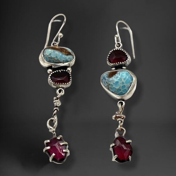 Brilliant Colors Blue Hemimorphite and Rhodolite Garnet Earrings by Susan Wachler Jewelry